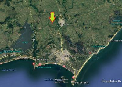 Chacra en Los Ceibos a 3 de San Carlos y 15 de Punta del Este