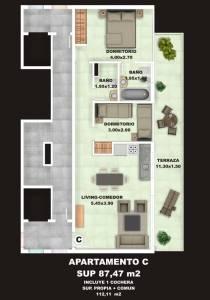 2 dormitorio, 2 baños.