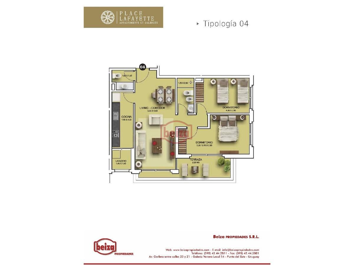Apartamento ID.163020 - Av. Roosevelt y Av. Pedragosa Sierra - 2 Dormitorios, 1 Baño y Toilette